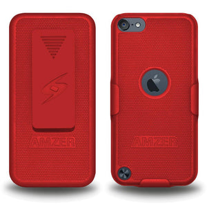 AMZER Shellster Hard Case with Belt Clip Holster for iPod Touch 5th Gen - Red