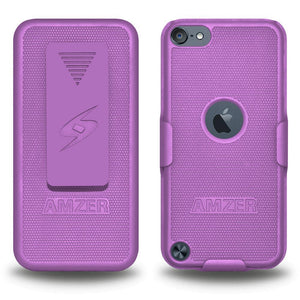 AMZER Shellster Hard Case with Belt Clip Holster for iPod Touch 5th Gen - Purple