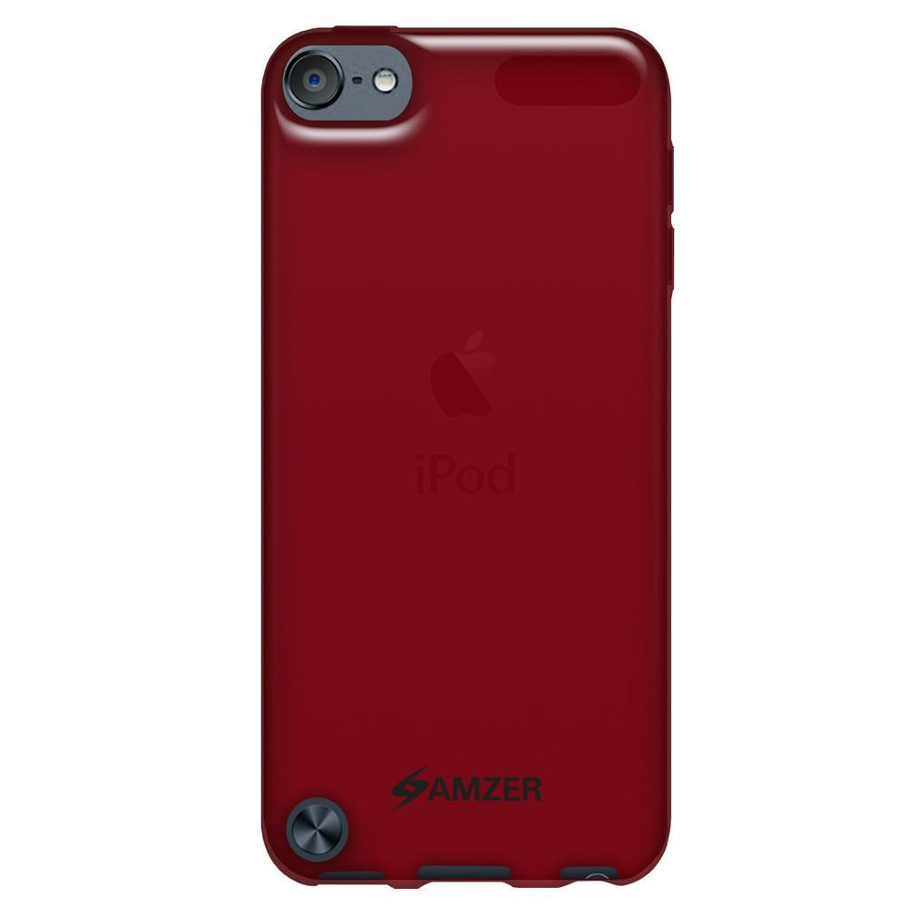 AMZER Soft Gel TPU Gloss Skin Case - Translucent Red for iPod Touch 5th Gen