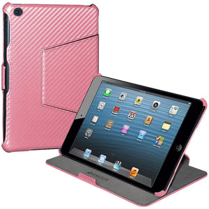 Amzer Shell Portfolio Case - Baby Pink Carbon Fiber Texture for Apple iPad mini