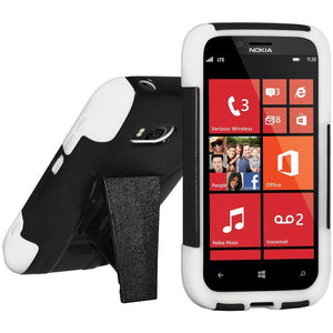 AMZER® Double Layer Hybrid Case with Kickstand - White/ Black for Nokia Lumia 822