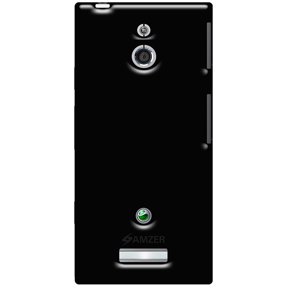 Amzer Soft Gel TPU Gloss Skin Case - Black for Sony Xperia P
