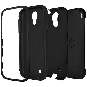 AMZER Tough Hybrid Case with Rugged Kickstand Holster - Black for Samsung GALAXY S4 GT-I9500
