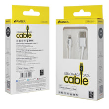 Load image into Gallery viewer, Amzer Apple MFi Certified Sync & Charge Lightning to USB Cable (6 Ft/1.8 M) - White
