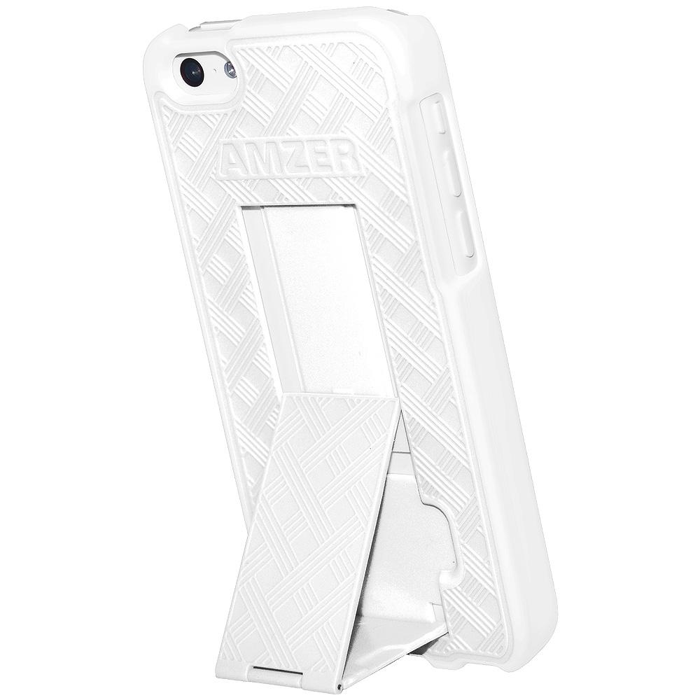 Amzer Snap On Case with Kickstand - White for iPhone 5C