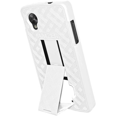 AMZER Snap On Case with Kickstand - White for Google Nexus 5 D820