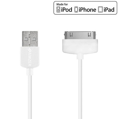 Amzer Apple MFi Certified 30-Pin to USB Sync & Charge Cable (3.2 Ft/1 M) - White