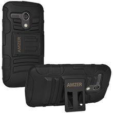 Load image into Gallery viewer, AMZER Hybrid Kickstand Case - Black/ Black for Motorola Moto G XT1032