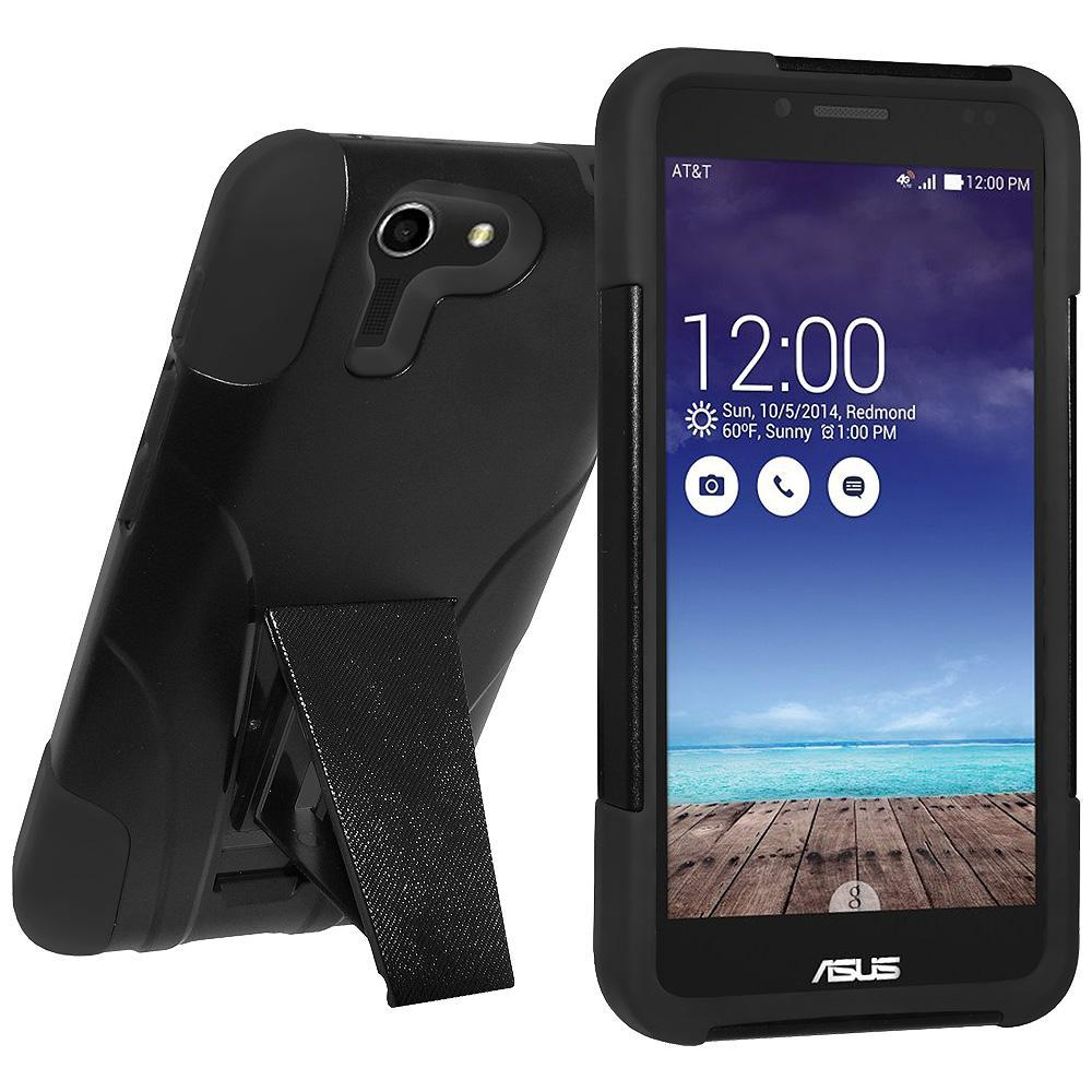 AMZER Double Layer Hybrid Case with Kickstand - Black/ Black for Asus PadFone X