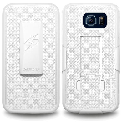 AMZER Shellster Hard Case with Belt Clip Holster for Samsung Galaxy S6 - White