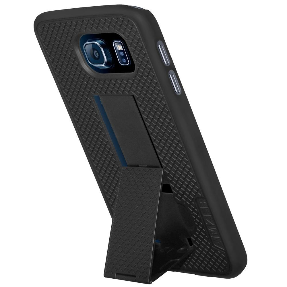 AMZER Snap On Hard Case with Kickstand for Samsung Galaxy S6 - Black