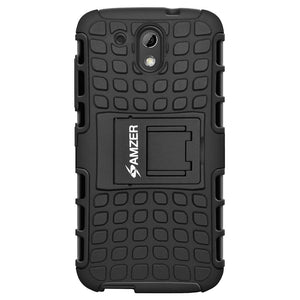 AMZER Shockproof Warrior Hybrid Case for HTC Desire 326G - Black/Black