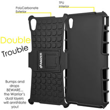 Load image into Gallery viewer, AMZER Shockproof Warrior Hybrid Case for Sony Xperia M4 Aqua - Black/Black