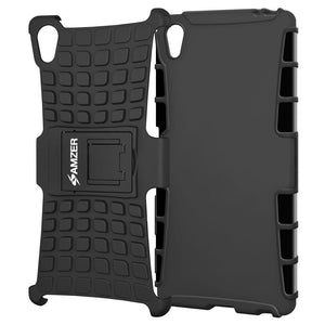 AMZER Shockproof Warrior Hybrid Case for Sony Xperia Z5 Premium - Black/Black