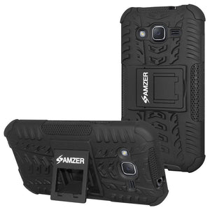 AMZER Shockproof Warrior Hybrid Case for Samsung Galaxy J2 2017 - Black/Black