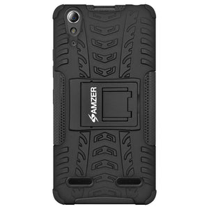 AMZER Shockproof Warrior Hybrid Case for Lenovo A6000 - Black/Black