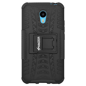 AMZER Shockproof Warrior Hybrid Case for Meizu m2 Note - Black/Black