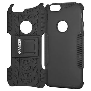 AMZER Shockproof Warrior Hybrid Case for iPhone 6 - Black/Black