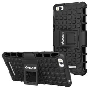 AMZER Shockproof Warrior Hybrid Case for Xiaomi Mi 4c - Black/Black