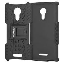 Load image into Gallery viewer, AMZER Shockproof Warrior Hybrid Case for Alcatel OneTouch Flash 2 - Black/Black