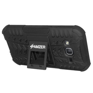 AMZER Shockproof Warrior Hybrid Case for Samsung Galaxy On5 - Black/Black