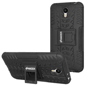 AMZER Shockproof Warrior Hybrid Case for Meizu Metal - Black/Black