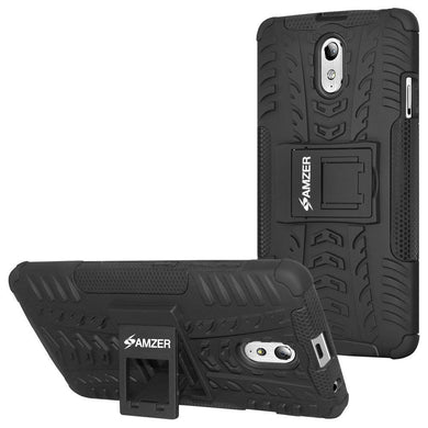 AMZER Shockproof Warrior Hybrid Case for Lenovo VIBE P1m - Black/Black
