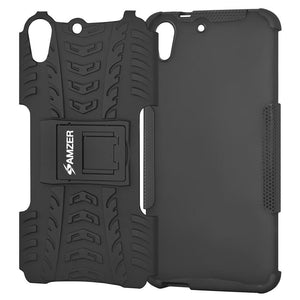 AMZER Shockproof Warrior Hybrid Case for HTC Desire 728 - Black/Black