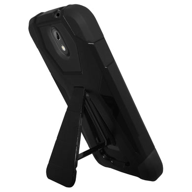 AMZER Dual Layer Hybrid KickStand Case - Black/ Black for HTC Desire 326G