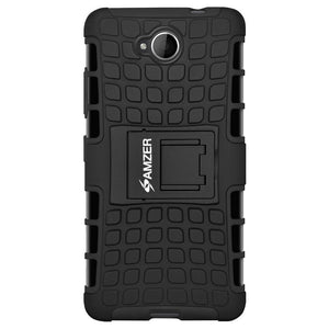 AMZER Shockproof Warrior Hybrid Case for Microsoft Lumia 650 - Black/Black