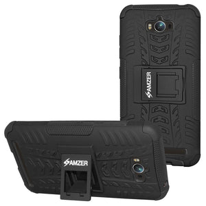 AMZER Shockproof Warrior Hybrid Case for Asus Zenfone Max ZC550KL - Black/Black