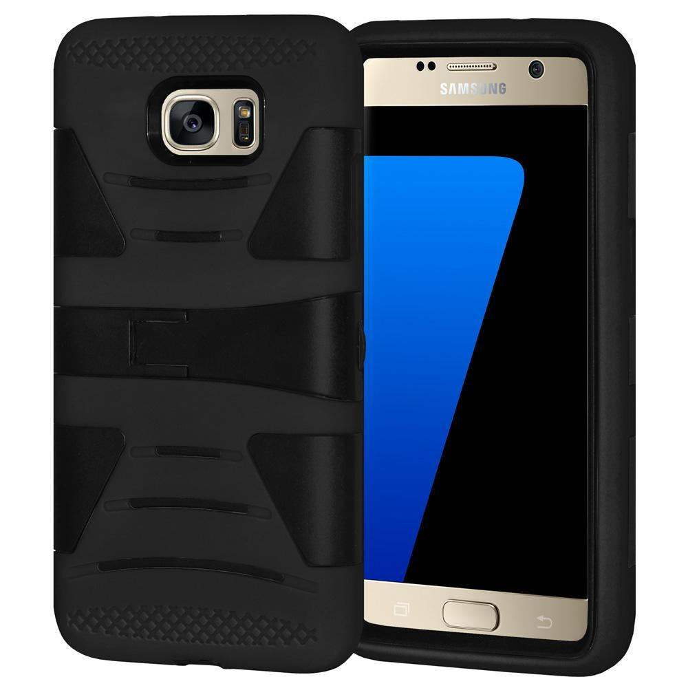 AMZER Dual Layer Hybrid KickStand Case for Samsung GALAXY S7 - Black/ Black
