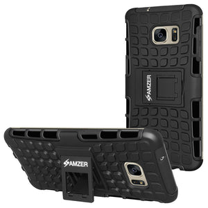 AMZER Shockproof Warrior Hybrid Case for Samsung GALAXY S7 Edge - Black/Black