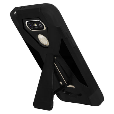 AMZER Dual Layer Hybrid KickStand Case - Black/ Black for LG G5