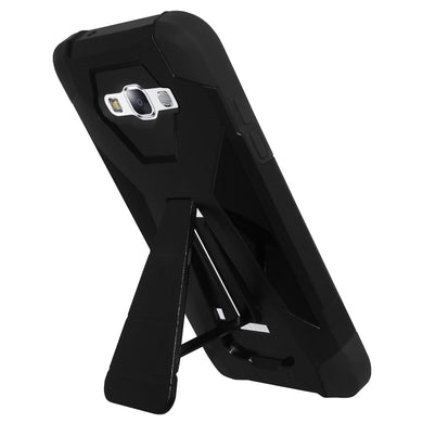 AMZER Dual Layer Hybrid KickStand Case - Black/ Black for Samsung GALAXY E5 SM-E500