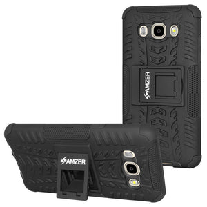 AMZER Shockproof Warrior Hybrid Case for Samsung Galaxy J5 2016 - Black/Black
