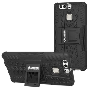 AMZER Shockproof Warrior Hybrid Case for Huawei P9 Plus - Black/Black