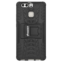 Load image into Gallery viewer, AMZER Shockproof Warrior Hybrid Case for Huawei P9 Plus - Black/Black