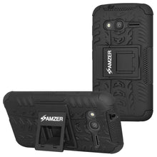 Load image into Gallery viewer, AMZER  Warrior Hybrid Case for Alcatel OneTouch Pixi 4 4 Inch - Black/Black