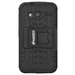 AMZER  Warrior Hybrid Case for Alcatel OneTouch Pixi 4 4 Inch - Black/Black