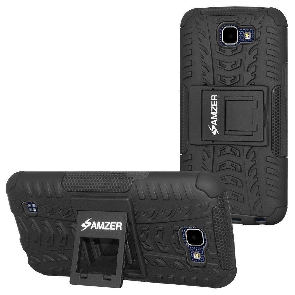 AMZER Shockproof Warrior Hybrid Case for LG K4 - Black/Black
