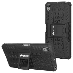 AMZER Shockproof Warrior Hybrid Case for Sony Xperia X - Black/Black