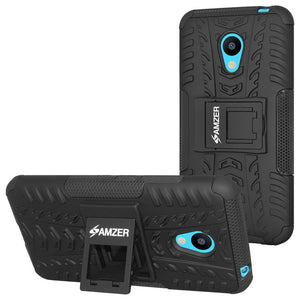AMZER Shockproof Warrior Hybrid Case for Meizu M3 - Black/Black