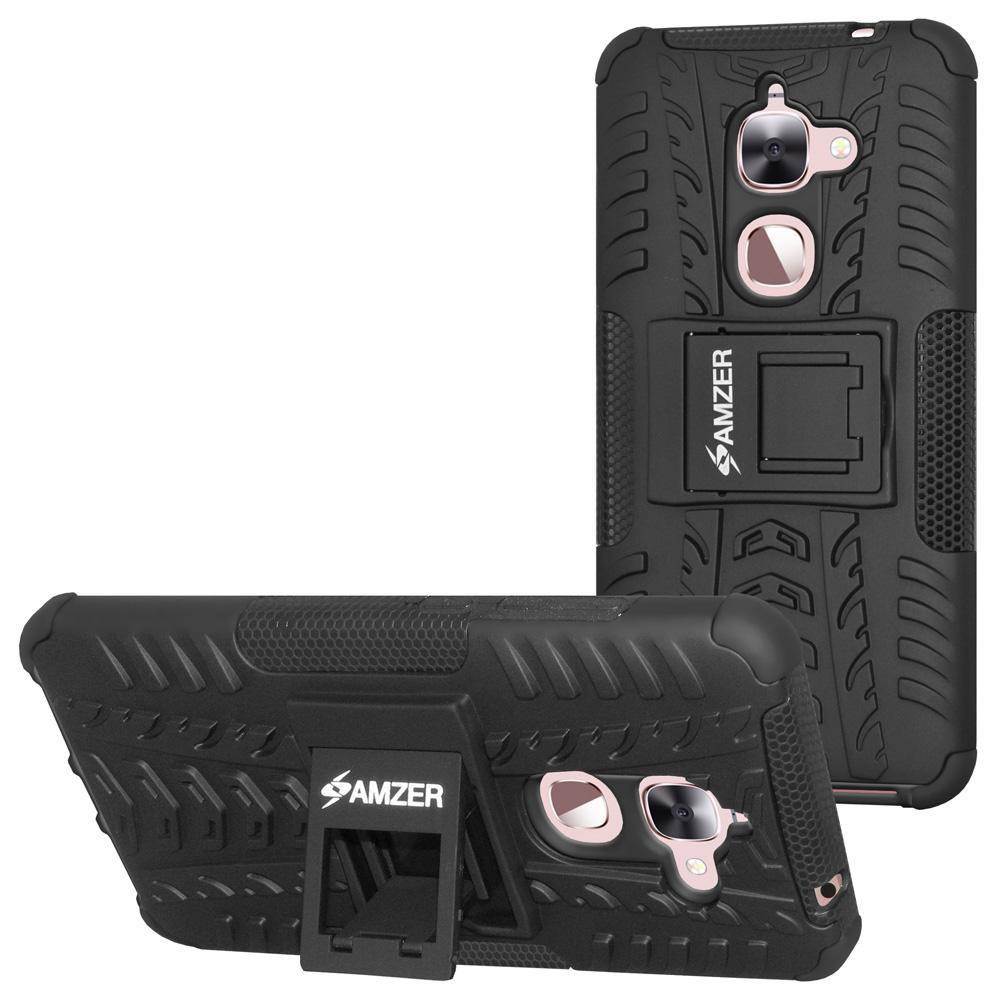 AMZER Shockproof Warrior Hybrid Case for LeEco Le 2 - Black/Black