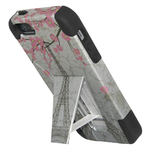 AMZER Double Layer Designer Hybrid Case with Kickstand - White Vintage Eiffel Tower Paris Sakura Floral for iPhone 5