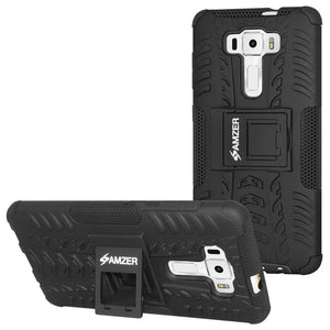 AMZER Shockproof Warrior Hybrid Case for Asus Zenfone 3 ZE552KL - Black/Black