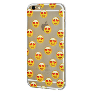 Soft Gel Clear Emoji TPU Skin Case - Love for iPhone 6 Plus