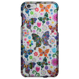 Rubberized Protector Case - Colorful Butterfly for iPhone 6
