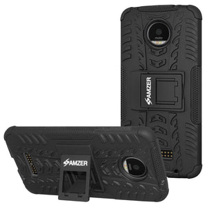 AMZER  Hybrid Warrior Case for Motorola Moto Z Force DROID Edition - Black/Black