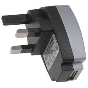 UK Black mains USB charger